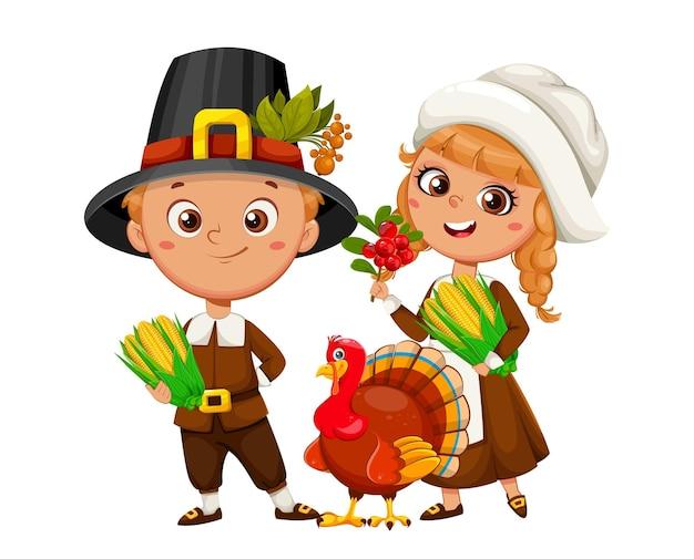 Joyeux jour de thanksgiving. mignons petits personnages de dessins animés de garçon et de fille de pèlerin. illustration vectorielle stock sur fond blanc