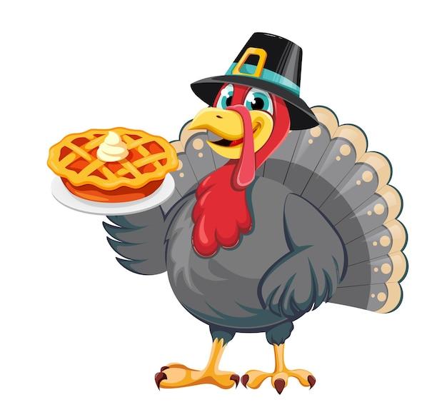 Joyeux jour de thanksgiving. oiseau de dinde de personnage de dessin animé drôle en chapeau de pèlerin tenant une tarte à la citrouille sucrée. illustration vectorielle stock sur fond blanc