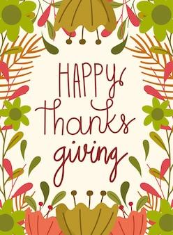 Joyeux jour de thanksgiving, salutation main lettrage fleurs feuille célébration