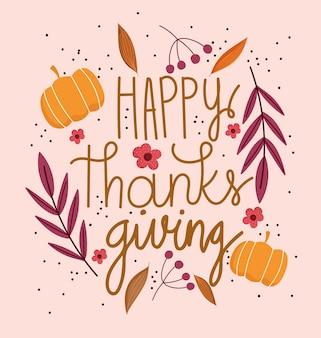 Joyeux jour de thanksgiving, texte avec des branches de fleurs de citrouilles fond nature