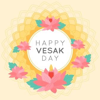 Joyeux jour de vesak indien couronne de fleurs