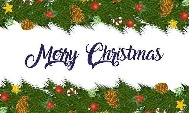 Joyeux joyeux noël carte avec cadre décoratifs guirlandes.
