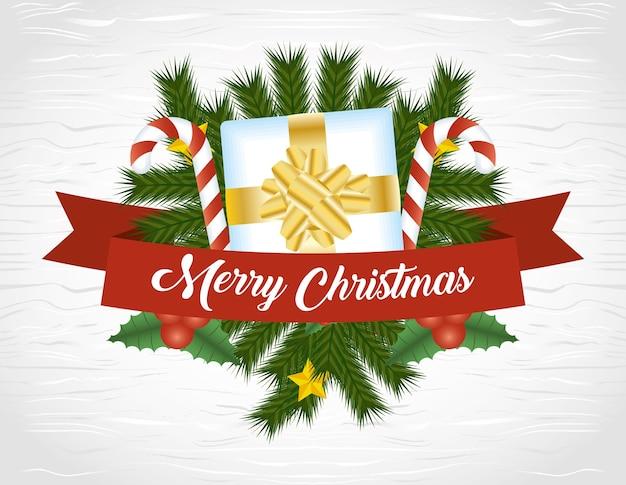 Joyeux joyeux noël avec décoration de cadeaux et de cannes.