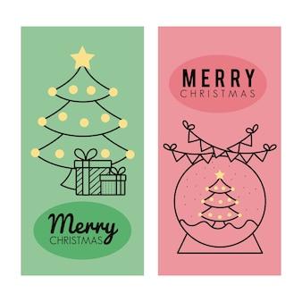 Joyeux joyeux noël pins arbres avec sphère enneigée et cheminée style ligne icônes illustration design