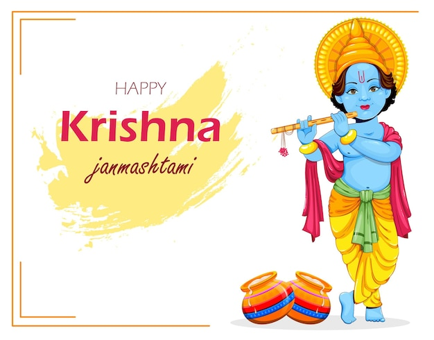 Joyeux krishna janmashtami carte de voeux seigneur krishna payer flûte