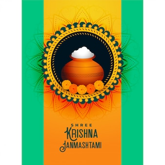 Joyeux krishna janmashtami festival salutation avec dahi handi