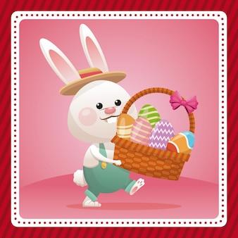 Joyeux lapin de carte de pâques portant la célébration des oeufs