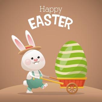Joyeux lapin de carte de pâques portant oeuf