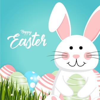 Joyeux lapin de pâques blanc joli lapin