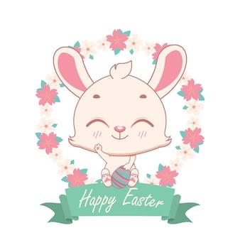 Joyeux lapin de pâques avec couronne florale et bannière festive