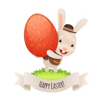 Joyeux lapin de pâques avec oeuf rouge