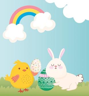 Joyeux lapin de pâques et poulet avec oeufs illustration de la saison de célébration