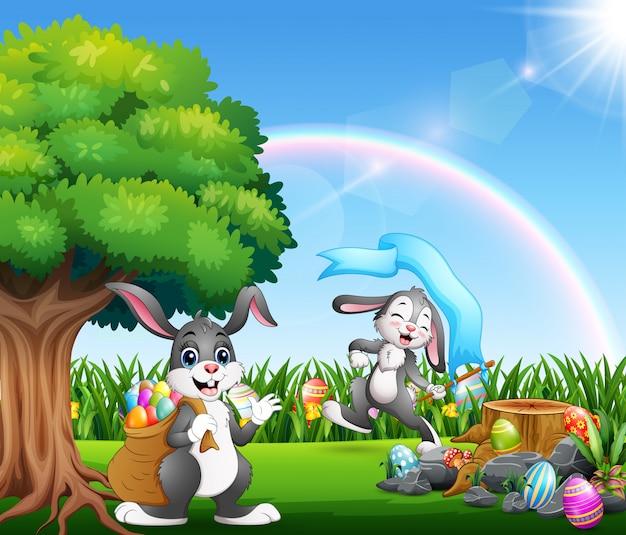 Joyeux lapins de pâques sur le parc naturel