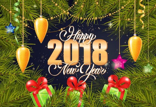 Joyeux lettrage du nouvel an 2018