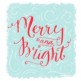 Joyeux et lumineux lettrage carte de voeux de noël texte rouge sur bleu design de style vintage