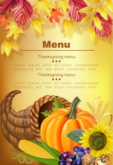 Joyeux menu de thanksgiving