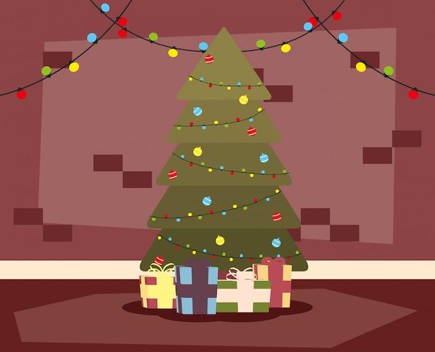 Joyeux mery noël lieu de la maison avec arbre et cadeaux scène