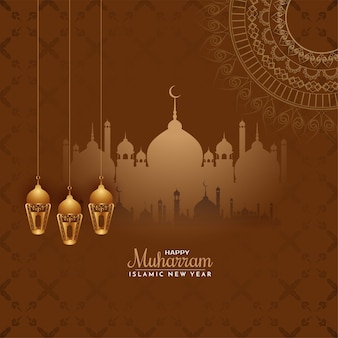 Joyeux muharram religieux et vecteur de fond de voeux de nouvel an islamique