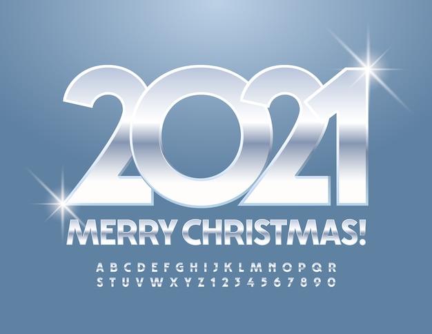 Joyeux noël 2021. police d'argent. lettres et chiffres de l'alphabet brillant métallique