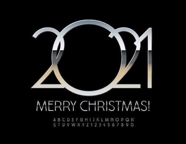 Joyeux noël 2021. police élégante en argent. lettres et chiffres de l'alphabet brillant