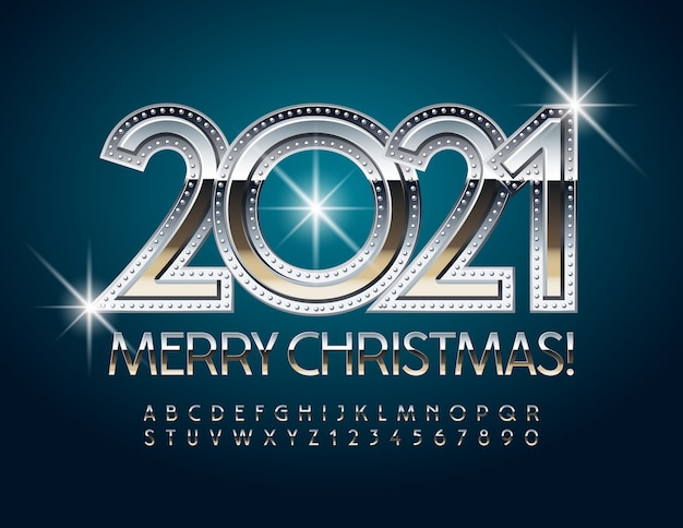 Joyeux noël 2021. police élégante en argent. lettres et chiffres de l'alphabet en métal