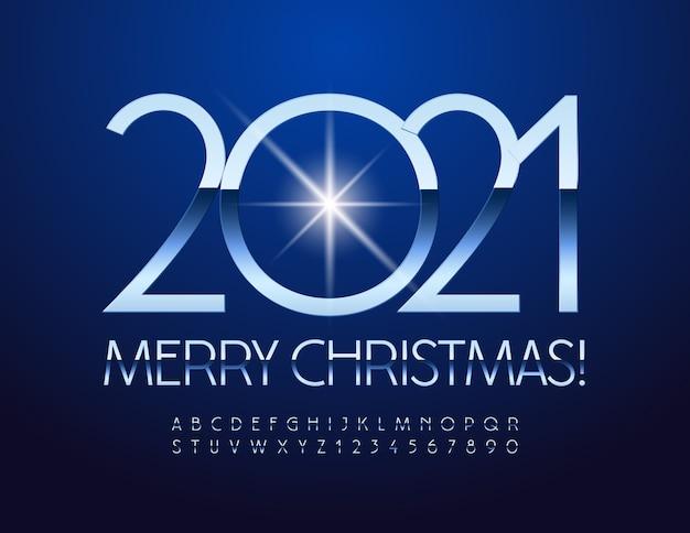 Joyeux noël 2021. polices métalliques chic. lettres et chiffres de l'alphabet en argent