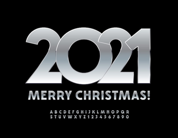 Joyeux noël 2021. polices métalliques mates. lettres et chiffres de l'alphabet en argent