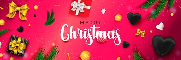Joyeux noël 2022 bannière concept de vacances avec des rubans de boules de cadeaux de pin d'arcs festifs