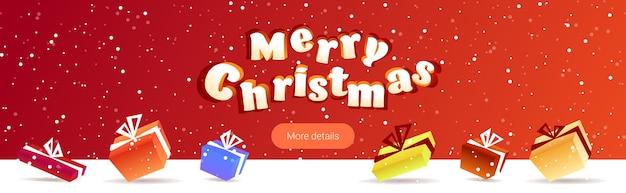 Joyeux noël affiche enveloppé cadeau boîtes cadeau hiver vacances célébration concept carte de voeux illustration vectorielle espace copie horizontale
