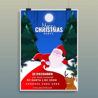 Joyeux noël affiche de fête avec arbre de noël, rennes et père noël au clair de lune