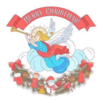 Joyeux noël. des anges sonnent des trompettes.