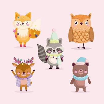 Joyeux noël, animaux mignons avec chapeau écharpe et illustration de célébration de lumières