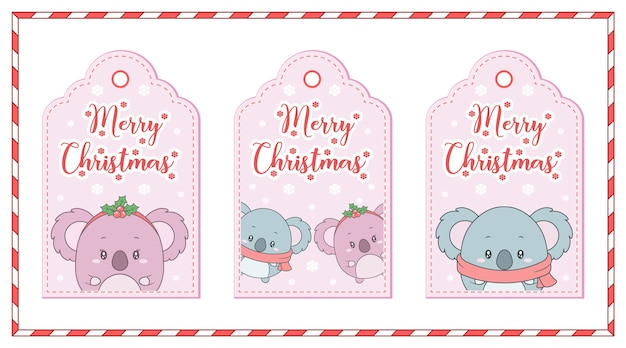 Joyeux noël animaux mignons dessin cartes tag avec flocon de neige et cadre de bonbons