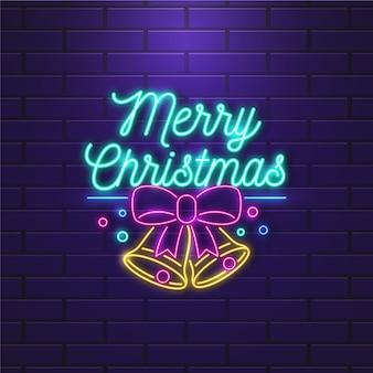 Joyeux Noël Au Néon Vecteur gratuit