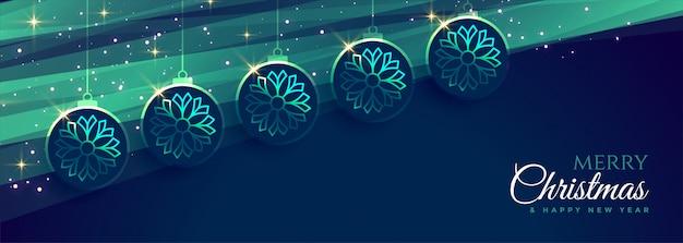 Joyeux noël bannière bleue avec décoration suspendue