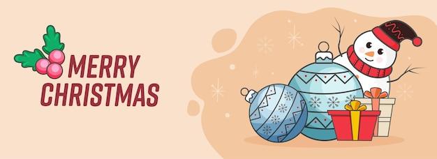 Joyeux noël bannière ou conception d'en-tête avec bonhomme de neige, boules et coffrets cadeaux sur fond de pêche.