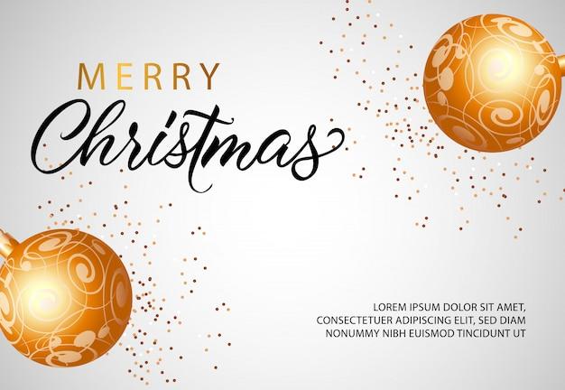 Joyeux noël bannière design avec des boules en or