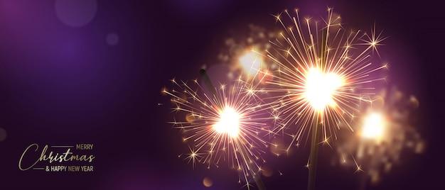 Joyeux noël bannière fond avec sparkler et effets de lumière