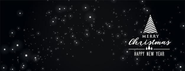 Joyeux noël bannière noire avec des étincelles