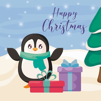 Joyeux noël avec des boîtes de pingouins et cadeaux