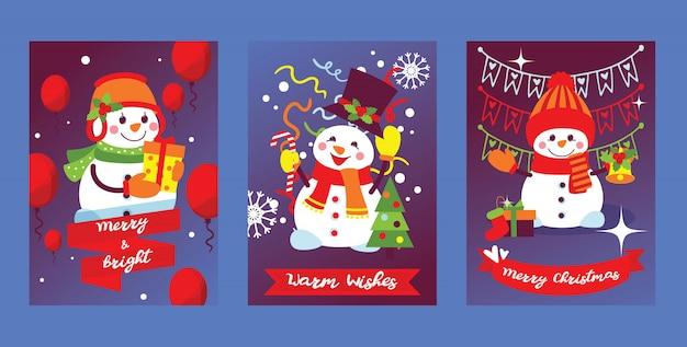 Joyeux noël bonhomme de neige carte de voeux de nouvel an avec le père noël bonhomme de neige arbre de noël et cadeaux fond illustration ensemble de carte postale hiver vacances célébration affiche conception toile de fond