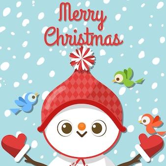 Joyeux noël avec bonhomme de neige dessin animé et trois oiseaux.
