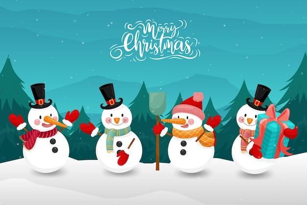 Joyeux noël avec bonhomme de neige heureux en hiver