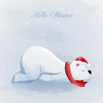 Joyeux noël et bonjour l'hiver avec l'ours polaire.