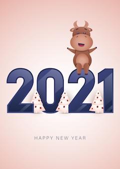 Joyeux noël et bonne année 2021 carte de voeux avec taureau