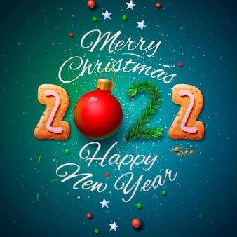 Joyeux noël et bonne année 2022 illustration vectorielle de carte de voeux