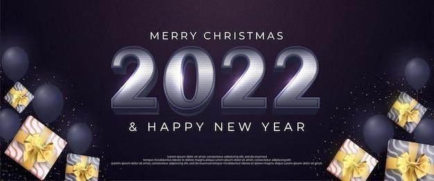 Joyeux noël et bonne année 2022 numéro argent design avec décoration d'élément de noël