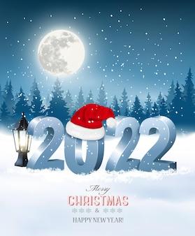 Joyeux noël et bonne année 2022. numéros 3d avec bonnet de noel, ampoule sur fond de paysage d'hiver. vecteur