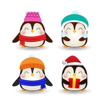 Joyeux noël et bonne année affiche, groupe de pingouin heureux portant des chapeaux de noël