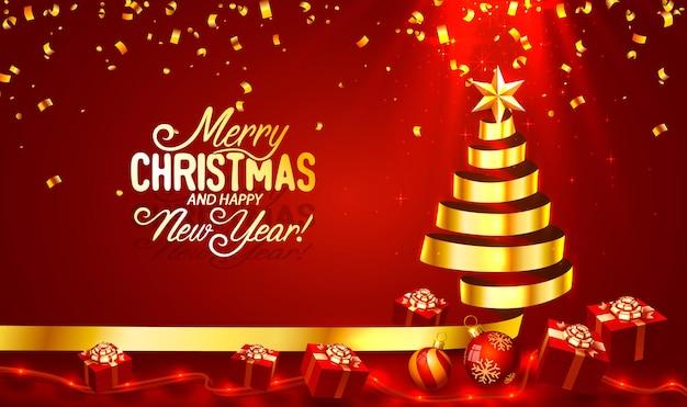Joyeux noël bonne année arbre avec vecteur de bannière de carte de jouets